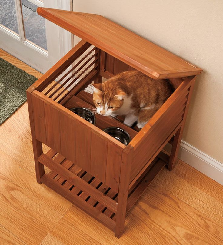 If you have a cat and a dog, you know the challenge of keeping the dog out of the cat's food. Our Cat Feeding Station gives your cat the freedom to eat any time without having its food disturbed.