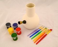 Paint your own bong kit. Includes a sealed but undecorated ceramic bong with downspout/bowl, 5 paint brushes and paint pots in various colours. Decorate it yourself!