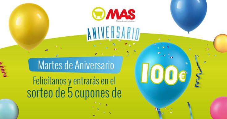 ¡En @supermercadomas sortean 5 cupones de 100€ por su 44 cumpleaños! Felicítanos y gana