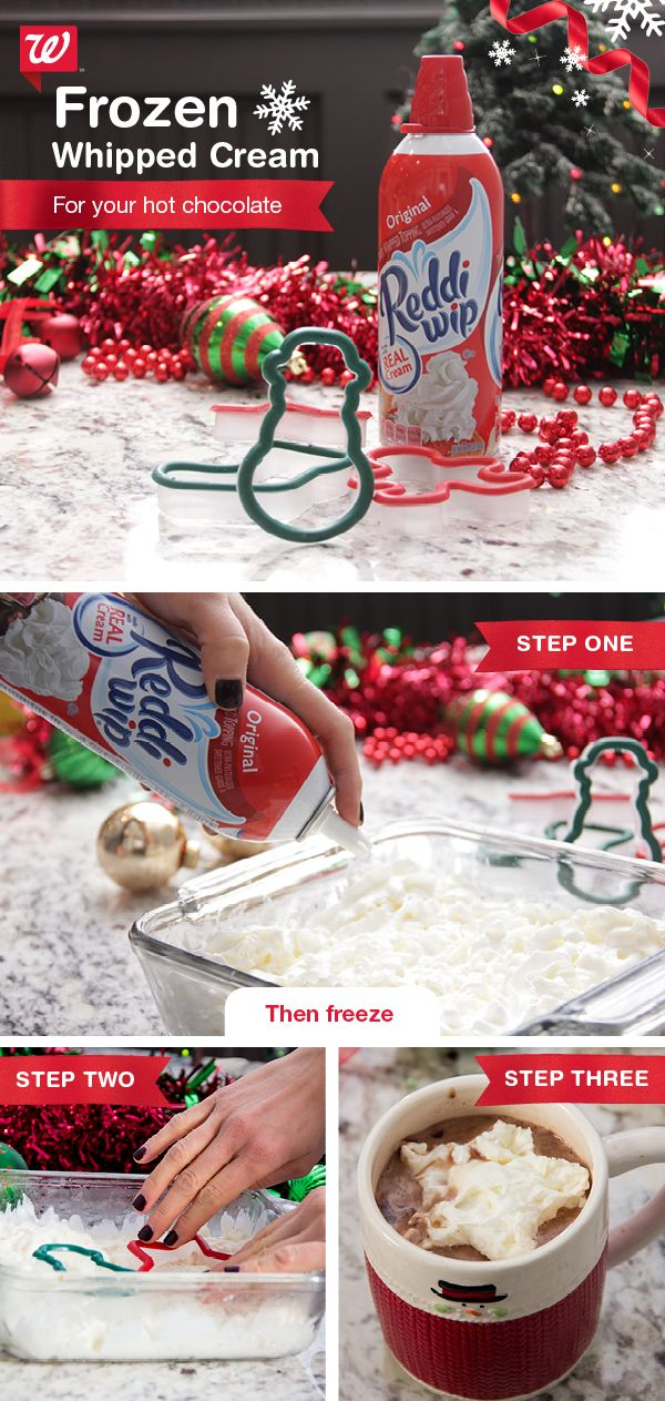 Impress guests with sweet café garnish—frozen whipped cream! 1) Fill a glass casserole dish with Reddi Wip or your favorite whipped cream. Freeze for 1 hour. 2) Make shapes in the frozen whipped cream with holiday cookie cutters. 3) Top off your hot cocoa or coffee with these tasty and festive creamsicles!