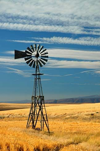 Windmill, Sherman County, Oregon | Gary Halvorson, Oregon State Archives via Geneology Trails