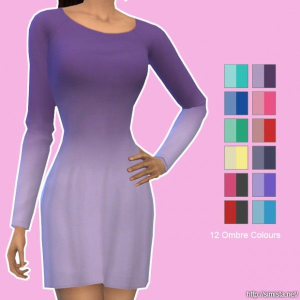 Clothing: Long Sleeve Little Dresses In Ombres from Simista • Sims 4 Downloads