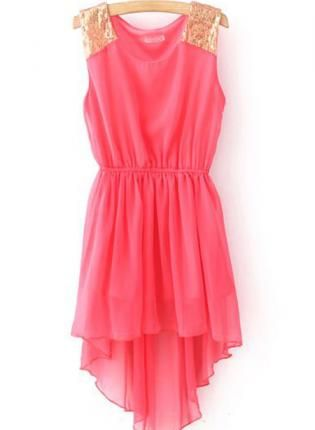 Red Sequnied Dipped Hem Chiffon Dress,  Dress, chiffon dress, Casual