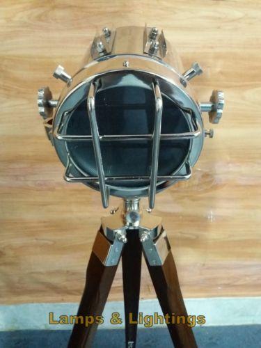 HOLLYWOOD-WOODEN-RUSTIC-SPOT-LIGHT-SEARCHLIGHT-TRIPOD-FLOOR-LAMP-LIGHT-DECOR