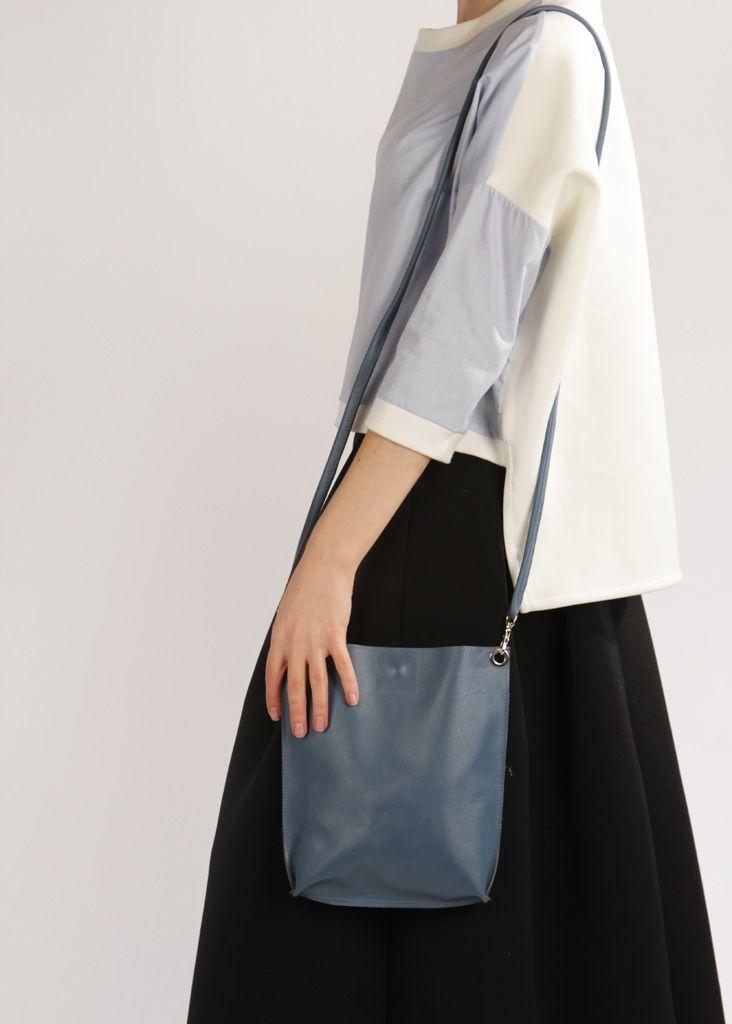 "Small Blue Crossbody Bag ""Monica Jeans"", Handmade Leather Crossbody Purse, Women Bag for iPad mini"