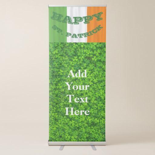 Happy St. Patrick's Day Irish Flag #Shamrock Paddy Vertical Retractable #Banner #Party #StPatrick #Decor #stpatricksday