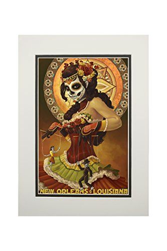 New Orleans, Louisiana - Dia De Los Muertos Marionettes - Day of the Dead (11x14 Double-Matted Art Print, Wall Decor Ready to Frame)