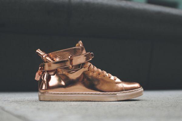 Buscemi 100mm High Top Rose Gold Sneaker