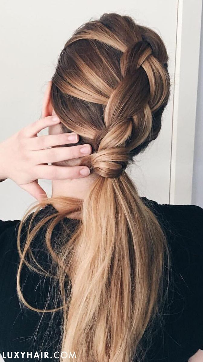 French braiding tips - Dutch Braid Into A Thick Ponytail With Luxyhair Extensions Is So Simple Yet Pretty