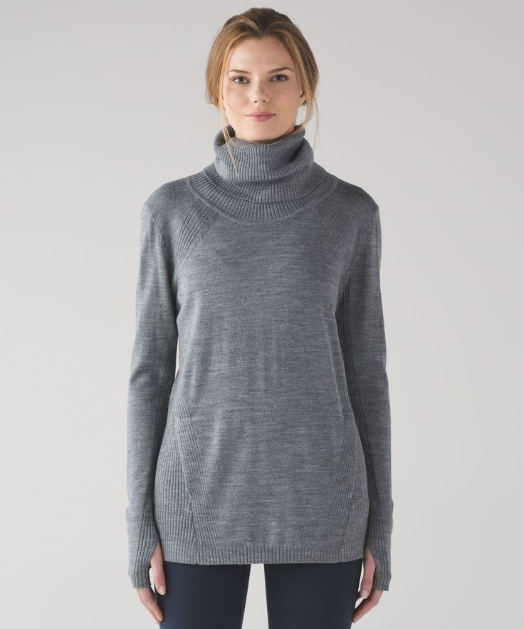Stay warm in Savasana or  post-practice in this  lightweight, machine-washable  wool sweater.