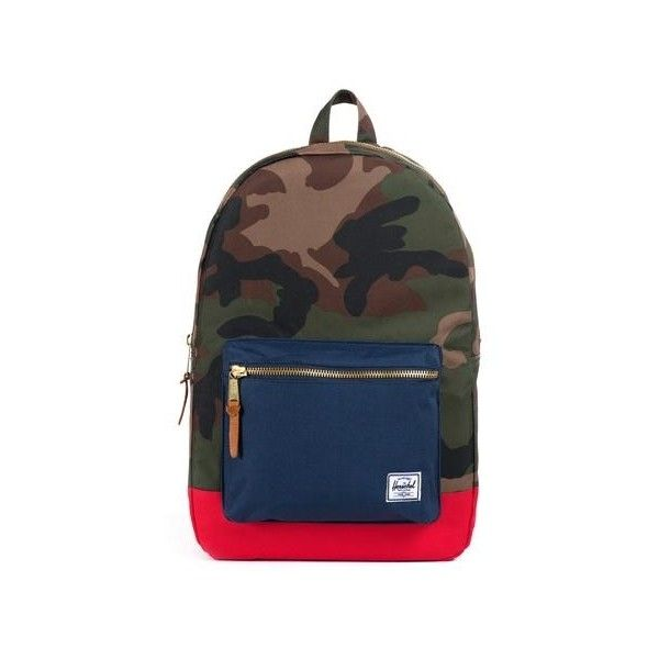 Herschel Supply Co. Navy Red Classics Settlement Backpack Woodland... ($77) ❤ liked on Polyvore featuring bags, backpacks, navy bag, camo backpack, red backpack, herschel supply co backpack and camouflage backpacks