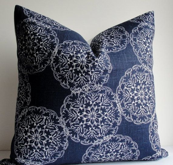 Decorative Pillow Cover -JOHN ROBSHAW Designer - DURALEE - WoodBlock Print - indigo blue - throw pillow - accent pillow - navy pillow on Etsy, $38.00