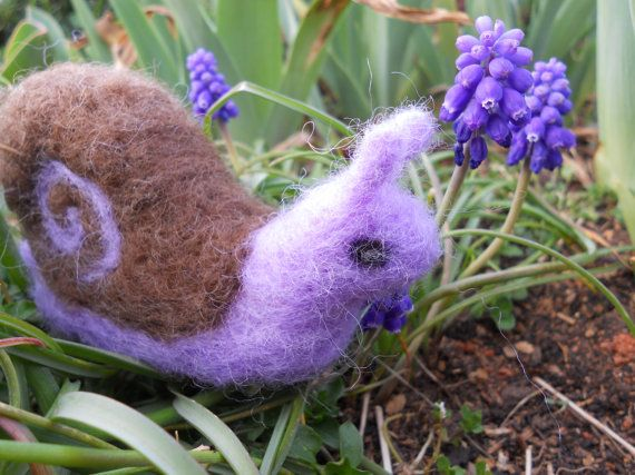 Needle Felted Garden Snail / Waldorf-style Soft Miniature Animal Toy / Summertime Nature Table Figurine. $15.00, via Etsy.