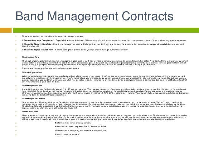 Artist Management Contract Contract Template Artist Management