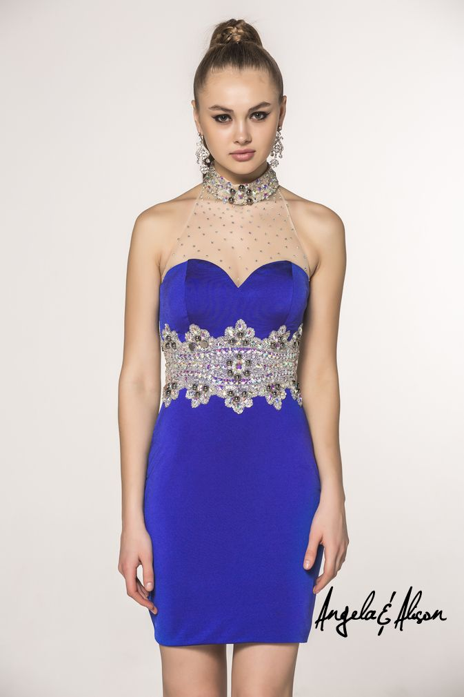 Style 42037 Illusion sweetheart halter neckline with beaded detailed empire waist, comes in several colours. Perfect for pageants, Prom, Homecoming, Gala, Wedding, Formal, Graduation, Ball... etc.