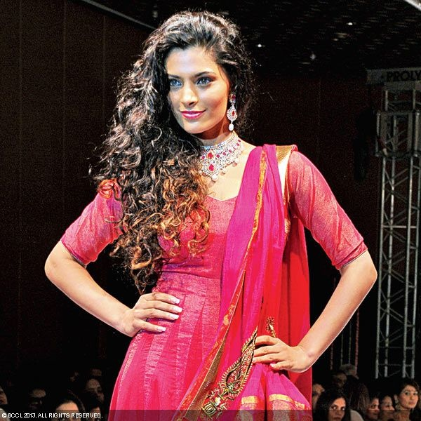 Saiyami Kher walks the ramp during Pink Wedding - an Ode to Weavers fashion show, held at The Park, Hyderabad