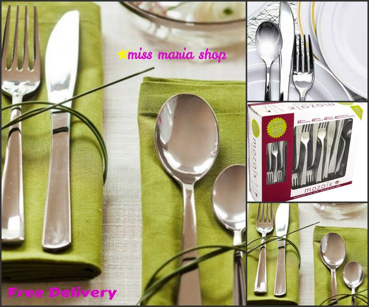 Disposable Knifes Forks Spoons Silver 200 Pc Party Dinner Event Cutlery Reusable