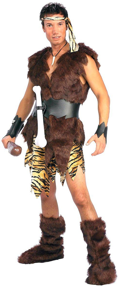 The king of caves adult size Halloween costume contains a headband, wristbands, wrap vest, belt with bone, shorts and boot tops. Other accessories in the picture are sold separately. This costume will