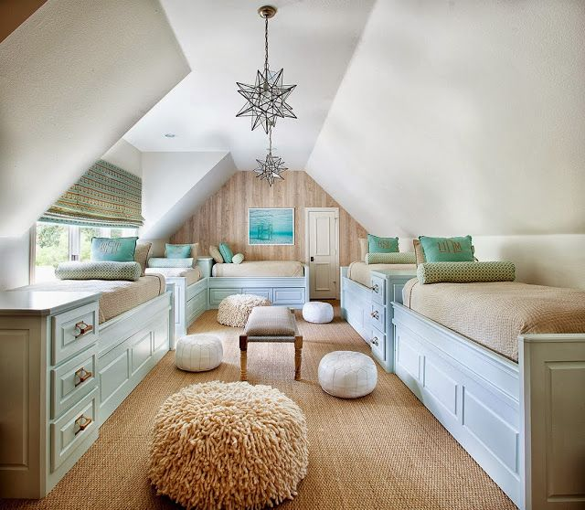 Fun bunk room for the kids in a converted attic space