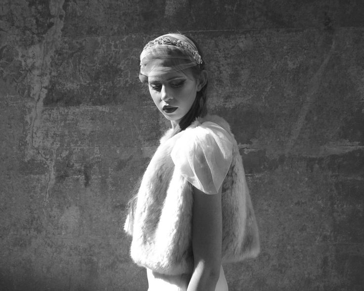 Bridal faux fur gilet with tulle sleeve #bridal #boho by Blanche in the Brambles