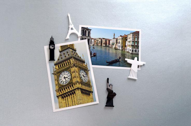 Conjunto de ímãs com desenhos de pontos turísticos de Londres, Paris, Nova York e Rio de Janeiro. Para decorar a geladeira ou fixar bilhetes e fotos em murais de metal. http://www.viagema.com.br/pd-1cfa12-kit-de-imas-mini-places-4-unid.html?ct=c4c6d&p=1&s=1