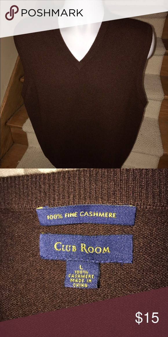 Club Room *100% cashmere* mens golf sweater vest L Stunning men's Club Room fine cashmere brown casual golf sweater vest that is sized large.  Perfect like new condition.  Great quality and style. Club Room Sweaters V-Neck