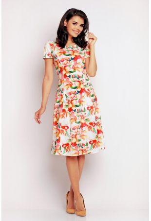 Pomarańczowo-kwiatowa Klasyczna Sukienka Letnia z Krótkim Rękawem