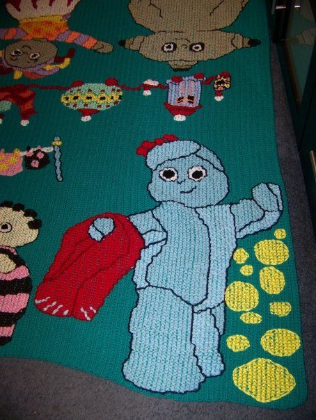 Knitting Pattern Iggle Piggle : Iggle Piggle cross stitched onto a crocheted blanket ...