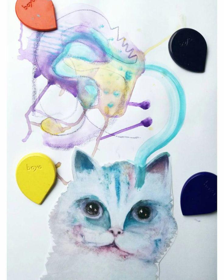 Bajkovija signature cat drawing, mixed media art with #boyacrayons and watercolor . . . #crayons #crayonart #color #drawing