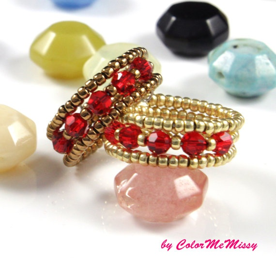 Red and Bronze Swarovski Crystal Beads Ring, Gorgeous Everyday Jewelry for her, by ColorMeMissy