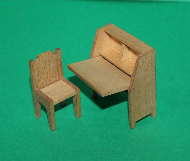 Vintage Dolls House Dol Toi Bureau & Chair Ref KM | eBay