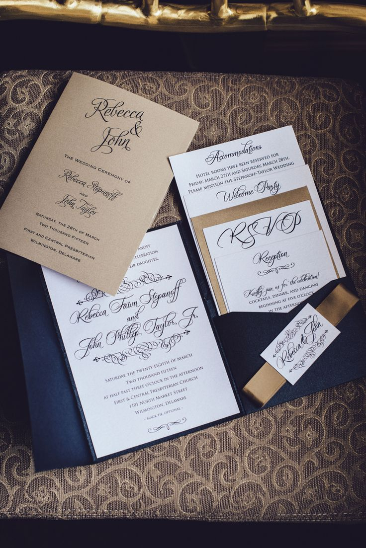 Elegant navy and gold calligraphy wedding invitation suite (Iluminada Photography)