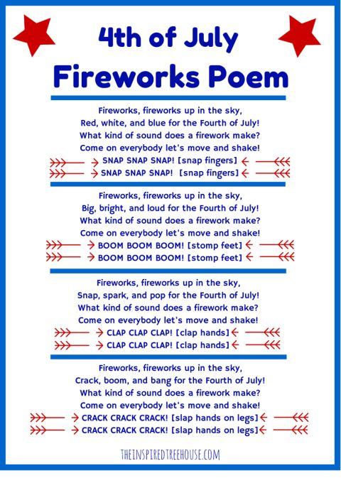 4th of July Poem and Movement Activity for Kids Crafts 4th of