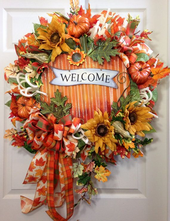 Fall Wreath, Mesh Wreath, Welcome Wreath, Autumn Wreath on Etsy, $135.00