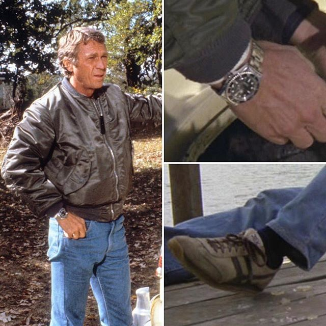 "The Hunter (1980) was Steve McQueen's final film before his death 37 years ago today. As bounty hunter Ralph ""Papa"" Thorson, McQueen wore an assortment of reliable, durable, and functional clothing from which he never deviated: a sage green nylon MA-1 bomber jacket from @AlphaIndustries, medium-wash bootcut denim from @LeeJeans, the actor's own stainless @Rolex Submariner 5512 (rather than the more commonly seen ref. 5513), and a pair of tan-and-brown JOX by Thom McAn athletic sneakers…"