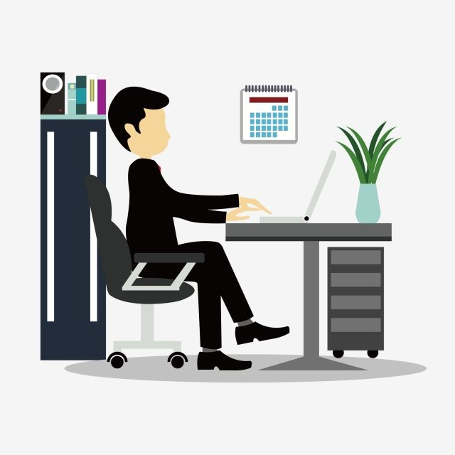 Cartoon Business Villain Working Scene Office Computer Office Clipart Thinking Time Png And Vector With Transparent Background For Free Download Work Cartoons Plant Cartoon Office Clipart