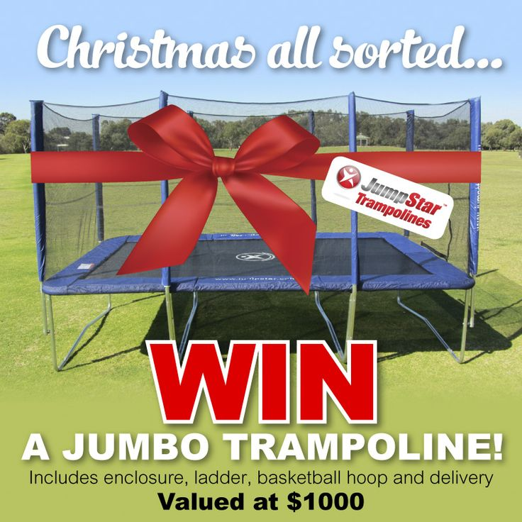 WIN a the ultimate Jump Star rectangle trampoline for Christmas!!! Worth $1000!  Enter here: http://www.jumpstartrampolines.com.au/winpage.html