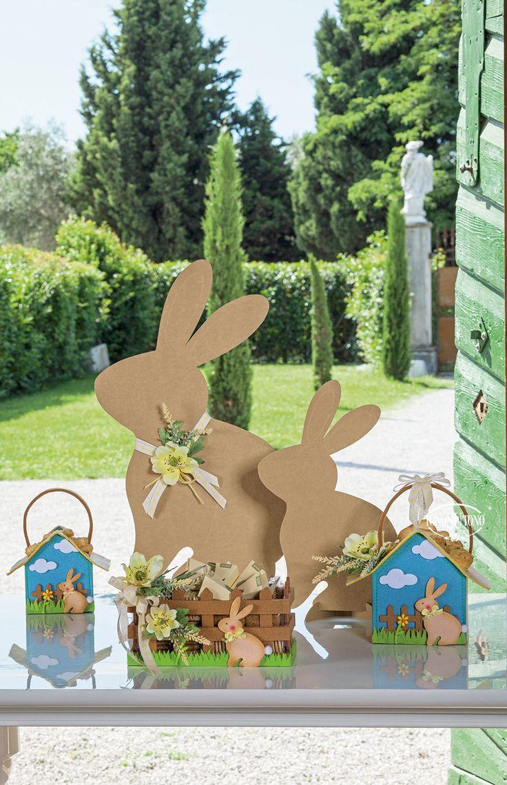 Confezioni in panno con conigli pasquali