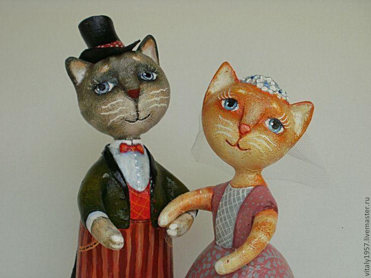 Коллекционные куклы ручной работы.   Шуррра и Муррра. Кот и кошка. Свадьба.   Автор Виталий Корякин. Размер: 21 х 12 х 8 см