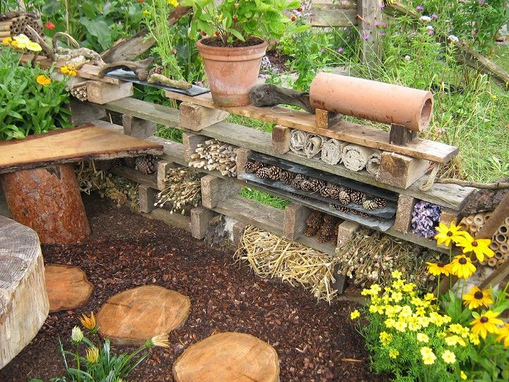 Bug Hotels---Because solitary bees have no hive to defend, they are not aggressive, they rarely, if ever, sting.