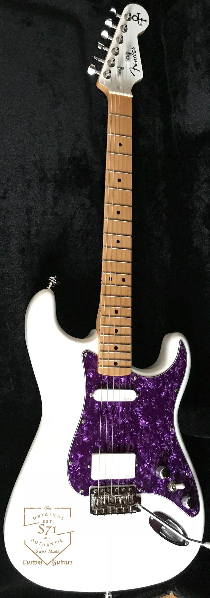 Prince Stratocaster, made on request by S71 Guitars. Custom order your dream guitar only from hjgh-end American or European Custom Shop/luthier parts for a very fair price. S71 Custom Shop Guitars.