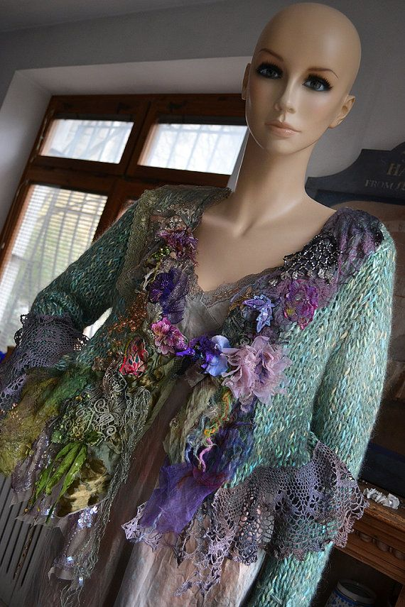 PLEASE CLICK ZOOM below the pictures to see much better quality view, thanks.  Beautiful Unique Hand Embroidered Mint Sweater with Silks, Millinery