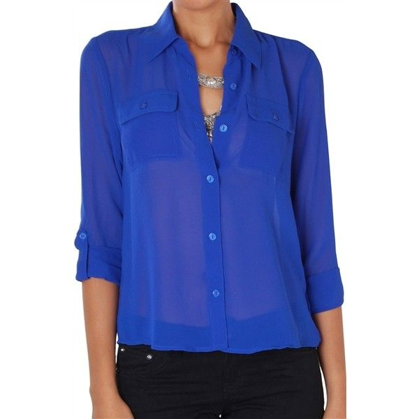 Humble Chic NY Button Down Pocket Blouse ($44) ❤ liked on Polyvore featuring tops, blouses, royal blue, royal blue blouse, chiffon blouse, blue shirt, blue button up shirt and blue chiffon blouse