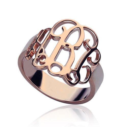 Rose Gold Monogram Ring, 3 Initials Ring, Personalized Rose Gold Monogram Rings, Personalized with Your Initials,Monogram Initial Rings