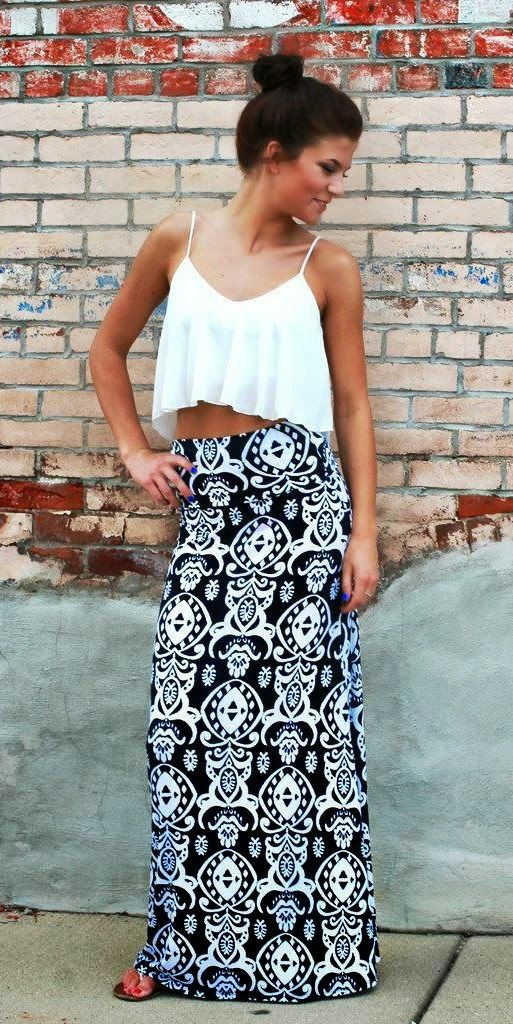 Maxi Skirt With Crop Top. #simple #classic