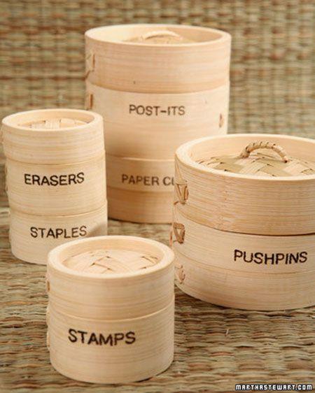 storage: Bamboo Steamer, Crafts Ideas, Apartment Therapy, Bamboo Crafts, Fun Ideas, Crafts Storage, Cool Ideas, Storage Ideas, Storage Container
