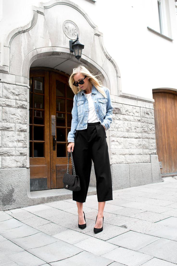 denim jacket / culottoes / black pumps / chanel bag