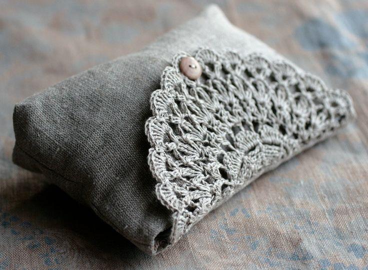 Linen clutch, pouch, purse, makeup bag -- crocheted detail closure. $35.00, via Etsy.
