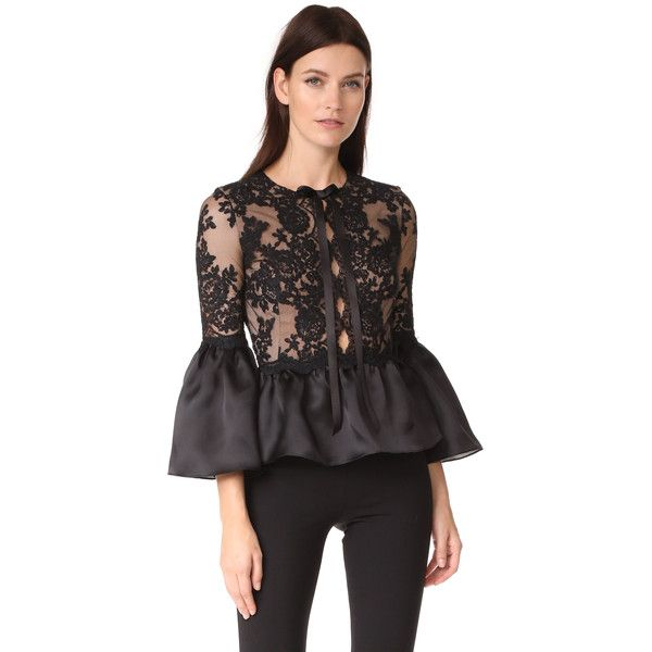 Marchesa Peplum Top with Bell Sleeves (€1.075) ❤ liked on Polyvore featuring tops, black, bow top, lacy tops, crew top, peplum tops and flared sleeve top