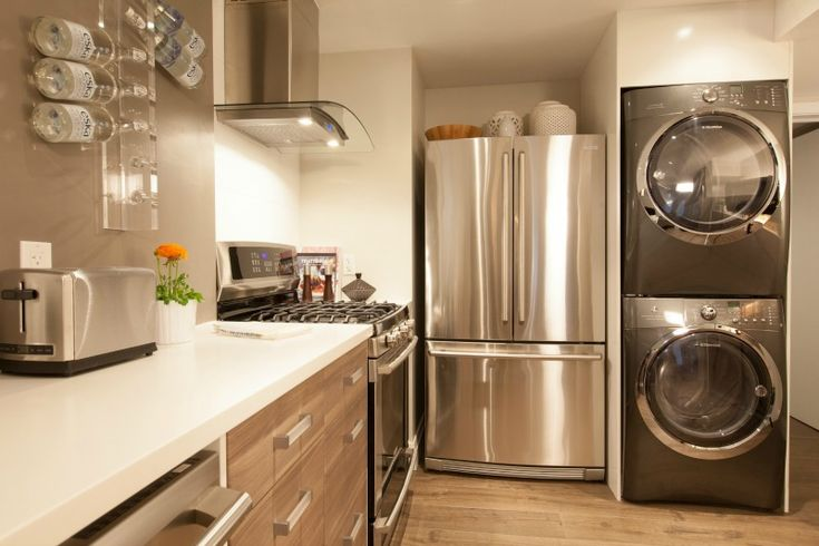 stainless steel appliances lend a high end look to this